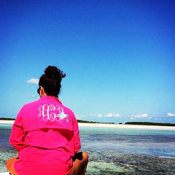 Monogrammed Fishing Shirt With Lilly Pulitzer Accent- Hot Pink