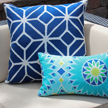 Outdoor Designer Pillow Covers in Blue, Turquoise and Chartreuse