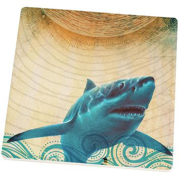 DCCKJY1 Great White Shark in Waves Set of 4 Square Sandstone Coasters