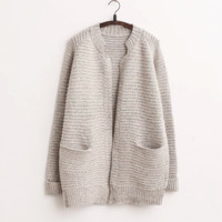 Stand Collar Solid Pockets Loose Cardigan Sweater