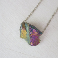 Rainbow Titanium Quartz Crystal Necklace - Natural Quartz Crystal Titanium Mystic Nugget Necklace stone no.6