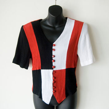 Vintage Late 80s-Early 90s Blouse Top Red Black White Checkered Christine David