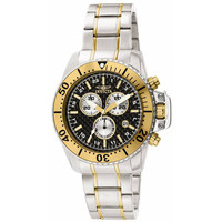 Invicta 11285 Men's Pro Diver Black Dial Gold Bezel Stainless Steel Chronograph Watch