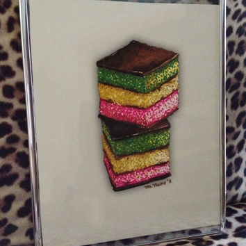 Original 8 1/2 x 11 hand drawing of bakery rainbow cookies done uniquely with graphic markers on paper.