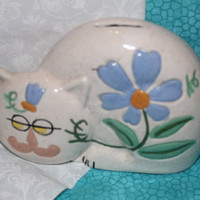A Darling Cat Coin Bank With Floral Design - Big Blue Flower