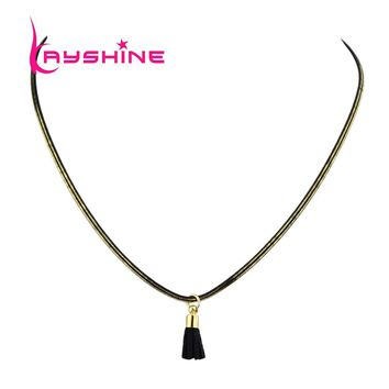 Kayshine Gothic Style Punk Choker Stretch Necklace Grunge Gold-Color Black Chain Choker Necklace with Leather Tassel Pendant