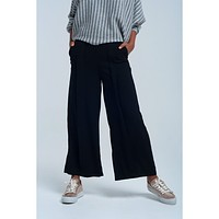 Black Pleated Woven Wide Leg Long Pant