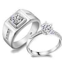 Wedding Couple Rings for Men and Women 925 Sterling Silver Stone Engagement Ring for Love Jewelry