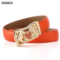 New 2017 Women Belt Brand Fashion Automatic Buckle Simple Girl Belt Casual Loving Shape Cow Split Leather Woman Belts