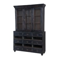 European Farmhouse Display Cabinet Black