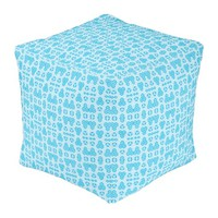 Pale Blue and Brighter Blue Geometric Floral Cube Pouf