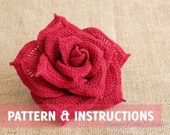 Crochet Patterns Instructions : Crochet Rose Pattern and Instructions - from HappyPattyCrochet on
