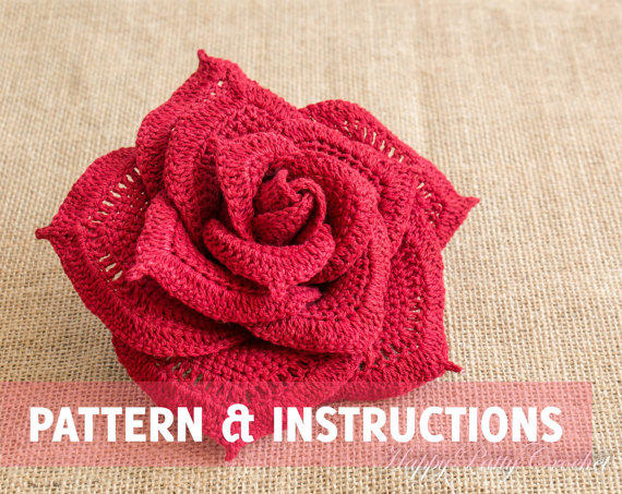 Crochet Rose Pattern and Instructions - from HappyPattyCrochet on