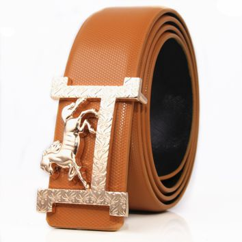 Hermes New fashion H horse buckle couple belt Brown