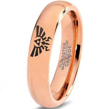 Zelda Hylian Triforce 18k Rose Gold Tungsten Ring