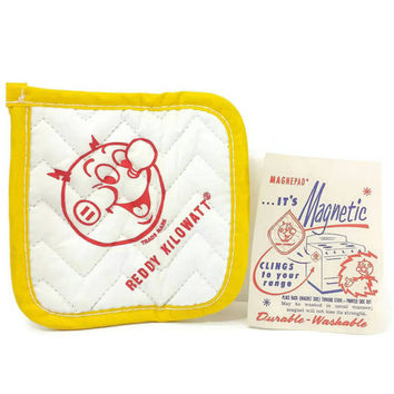 Vintage Reddy Kilowatt Magnetic Pot Holder, New Sealed, Vintage Kitchen, 1950s, Houston, Magnepad