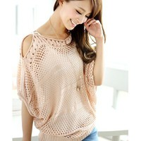 (TOLLS0696) Pink Cut Away Shoulder Knit Top, iAnyWear
