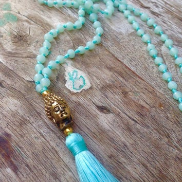 Limited Edition ~ ॐ Aqua Brass Buddha Necklace ~ Mala Tassel Necklace ~ Recycled Aqua Glass Beads ~ Summer Long Handknotted Bohemian Boho
