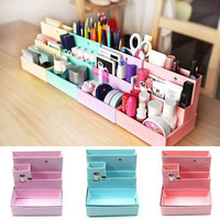Random Color 2016 Hot Sale DIY Paper Board Makeup Cosmetic Storage Box Container Desk Decor Stationery Case Organizer Top