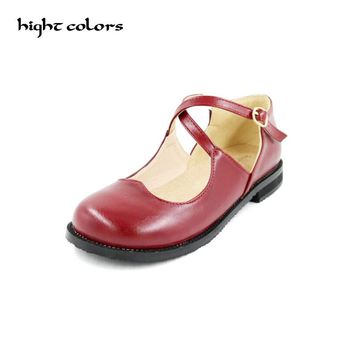 20.5cm~26.5cm Plus Size 31~43 Fashion New Sweet Womens Round Toe Casual Buckle Cross Strap Mary Jane Girls Ballet Flats Shoes
