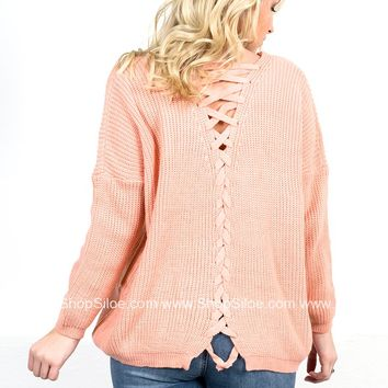 Peachy Knit Lace Up Sweater