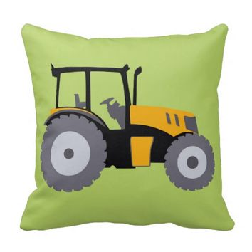 Nursery tractor illustration kids room decor pillows