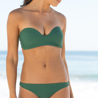 The Girl and The Water - Mikoh Swimwear - Bordeaux Bikini Bandeau / Seaweed - $100