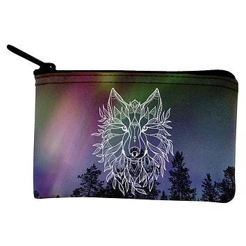 Wolf Northern Lights Night Line Art Coin Purse