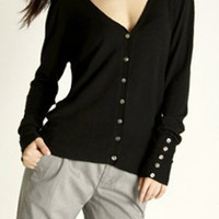 V-Neck Long Sleeve Button Down Cardigan