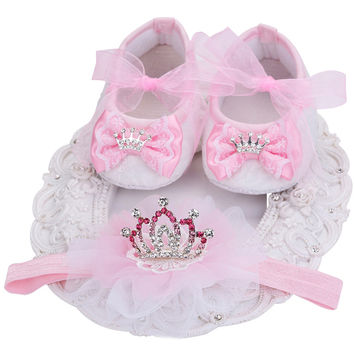 Boutique Baby Moccasins Toddler;Xmas First Walker Brand Baby Shoes Girls Headband Set;Newborn Baby Girls Shoes Christening