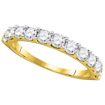 14kt Yellow Gold Women's Round Pave-set Diamond Wedding Band Ring 1.00 Cttw - FREE Shipping (US/CAN)