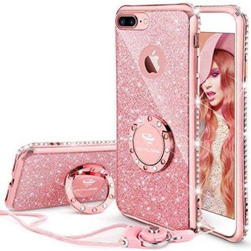CREYRQ5 iPhone 7 Plus Case, iPhone 8 Plus Case, Glitter Cute Phone Case Girls with Kickstand, Bling Diamond Rhinestone Bumper Ring Stand Protective Pink iPhone 7 Plus/ 8 Plus Case for Girl Women - Rose Gold