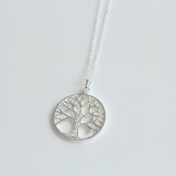 Tree of Life Sterling Silver Pendant, Pendant Necklace, Circle of life, Silver Tree, Statement Jewelry, Minimalist Gift for her