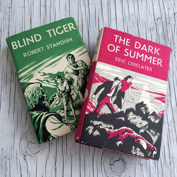 Two vintage novels with brightly illustrated dust jackets. Home decor. 1950s popular fiction hard back books. Pink and Green book jackets.