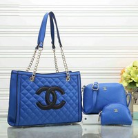 Chanel Trending Women Stylish Leather Handbag Tote Shoulder Bag Clutch Bag Cosmetic Bag Set Three-Piece Blue I-a-BBPFCJ