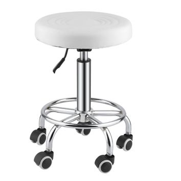 Comfortable Adjustable Hydraulic Rolling Swivel Stool Facial Salon Massage Spa Bar Stool Chair With Wheels White