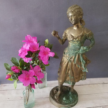 Statue of Young Girl/ Sculpture of 1800s Woman/ Large Brass Statue/ Sculpture/ Brass Statue/ Female Statue/ French Woman/ Bronze Woman