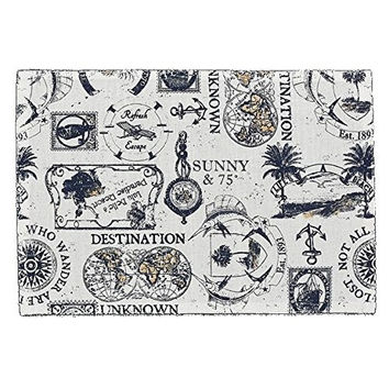 Travelogue Vintage Printed Cotton Placemat Set of 4