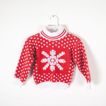 80s Christmas Sweater / Toddler Sweater / Red Sweater / Pullover Sweater / Kids Ugly Christmas Sweater / Tacky Xmas Sweater / Ugly Xmas