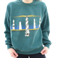 Vintage 80's / 90's Style Lighthouse Florida Blue Sweatshirt - Hipster / Boho style - Made in USA
