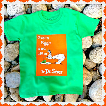 Boys Dr Seuss shirt Green Eggs and Ham Cat in the Hat 4/5 6/7 8/10 12/14 ready to ship
