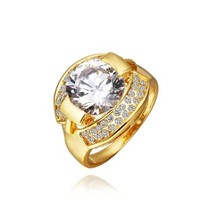 18K Yellow Gold Plated Big White Swarovski Elements Crystal Ring, Size 8