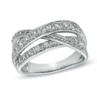 Lab-Created White Sapphire Split Shank Crossover Ring in Sterling Silver - Size 7 - View All Rings - Zales