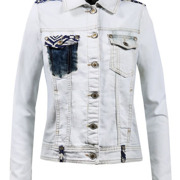 Womens Vintage Cropped Denim Jacket With Pockets