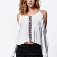 LA Hearts Embroidered Cold Shoulder Top - Womens Shirts - White