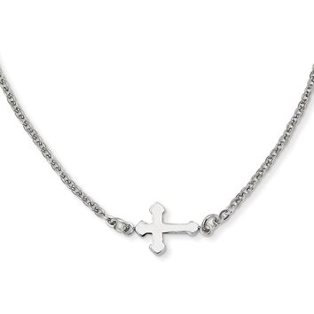 Sideways Simple Passion Cross Necklace in Stainless Steel - Lobster Claw Cable