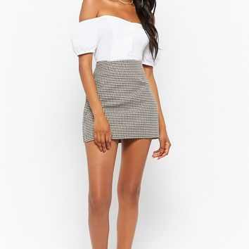 Twill Houndstooth Mini Skirt
