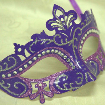 Purple Venetian Masquerade Laser Cut Mask with Rhinestones