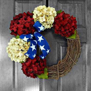 Patriotic Wreath, Americana Decor, 4th Of July, Summer Wreath, Americana Wreath, Patriotic Decor, Etsy Wreaths, Door Wreathe