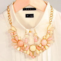 Light Caramel and White Bubble Statement Necklace with Earring Set Choker Necklace Gift for Women